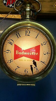 VINTAGE BUDWEISER Advertising Rotating Large Pocket Watch Lighted Clock