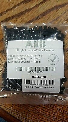 Abb Single Insulated Wire Ferrules 030445703 1.50 Mm 2 16 Awg 500 Per Bag New