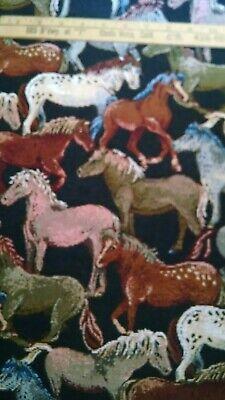 Pony Horses Tapestry Upholstery Quality Italian Decor Fabric 1 Yard NEW