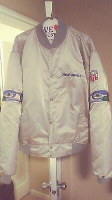 Vintage Seattle Seahawks Throwback Satin Starter Jacket xxl 2xl Nice! Silver