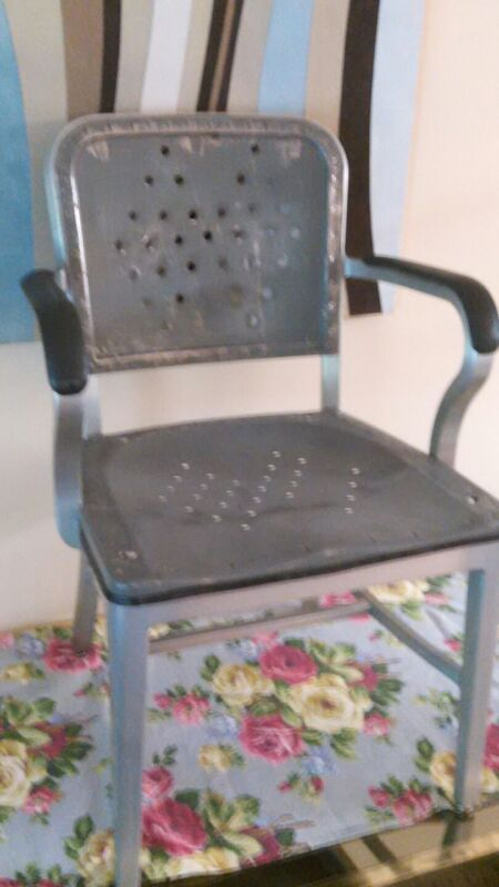 INDUSTRIAL ALUMINUM GUNLOCK STEAMPUNK GENERAL FIREPROOFING TANKER DESK CHAIR