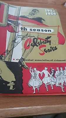 1953 -1955 Civic Musical Association of Richmond.  Seven Programs with 50s Stars