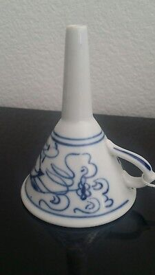 """Meissen"" Blue Onion Funnel  Antique porcelain Cobalt Flow White Kitchen Utensil"