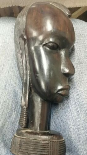 Vintage African Tribal Head Sculpture, Great Detail, Heavy Wood  - $34.99