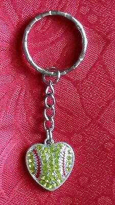 "SOFTBALL HEART WITH FAUX YELLOW CRYSTALS KEYCHAIN - 2 3/4"" HIGH - SPORTS"