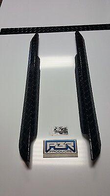 BLACK EZGO Marathon Golf Cart Diamond Plate Rocker Panels & Kick Plate 3 pc