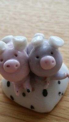 Miniature Bone China Pigs Ornament  small Pink Grey on spotted heart 3cm