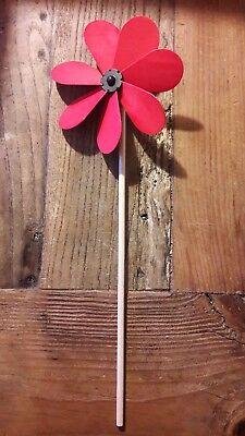 Windrad aus Holz, rot,  d ca 13 cm, neu