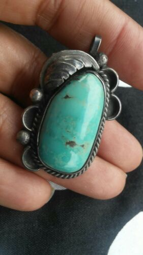 Beautiful old pawn Native American Navajo sterling turquoise pendant