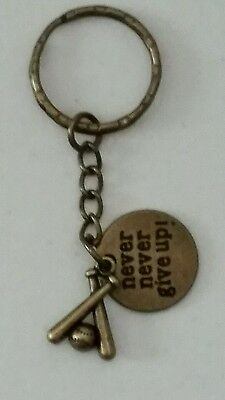 SOFTBALL - BASEBALL - NEVER, NEVER GIVE UP BRONZE KEYCHAIN - BAT - BALLS -SPORTS