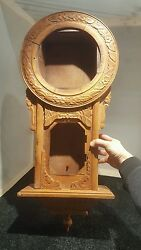 Antique wood wall clock case (body only) carved ornate regulator