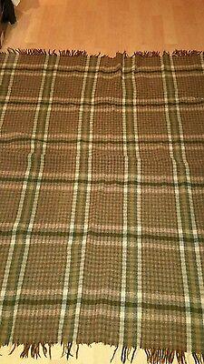 VNT. Wool Blanket. (Brown/Green) 49 X 61