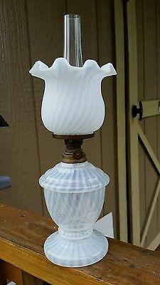 Rare Opalescent Swirl Miniature Oil Lamp