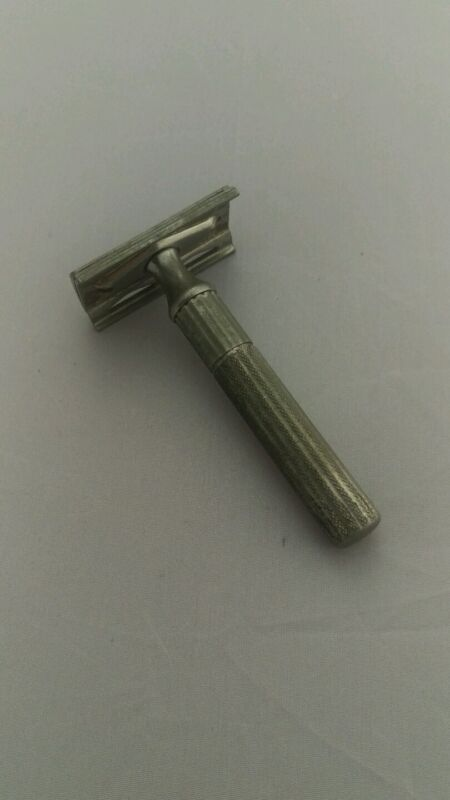 Gillette Fat Handle Tech Double Edge Safety Razor Satin Nickel circa late 40's