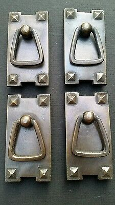 2 Antique style Arts and Crafts Mission brass handle pull #H32