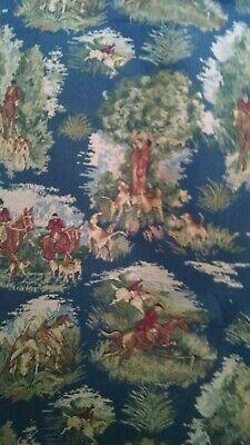 Fox Hunt Horses Tapestry Upholstery Quality Italian Decor Fabric 1 Yard NEW