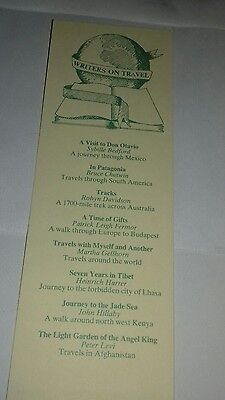 - Cardboard bookmark. Writers on travel. A book marketing council promotion.