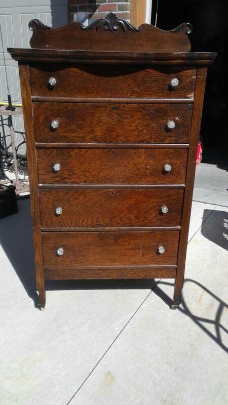 Antique/Vintage Tall Bedroom Dresser w/glass pulls OAK.. very solid