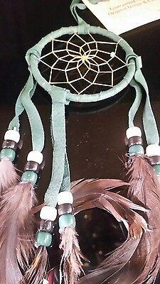 "Mae Stone Authentic Native American Navajo Dream Catcher Leather 3"" Green"