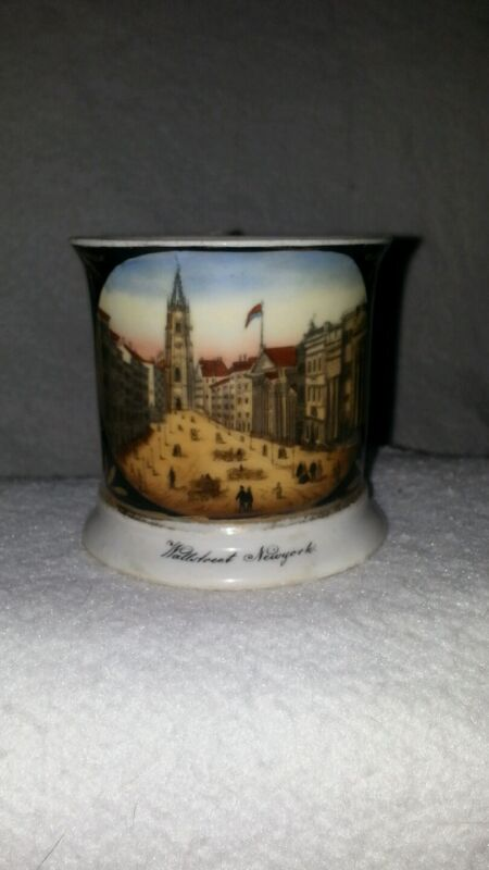 German Porcelain Mug Hand Painted Wall Street 1850 Trinity Church New York