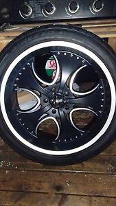 """24"""" 5 bolt rims/tires 1250$ set of all 4"""