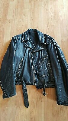 Vintage 1970's  mens leather jacket size 44 Harley Davidson patch