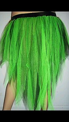 Peacock Tutu Skirt (Uv Green Black 7 Layer Peacock Tutu Skirt Trashy Neon Halloween Christmas)
