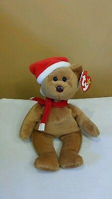 Ty Beanie Baby 1997 Teddy w/Santa Hat & Scarf DOB 12-25-96 w/Errors  PVC