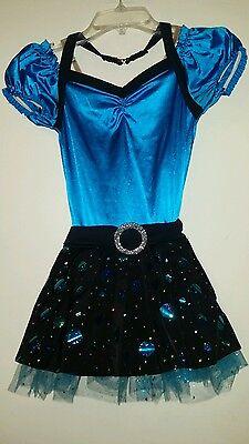 """WEISSMAN"" GIRLS JAZZ BLUE & BLACK DRESS DANCE / PAGEANT COSTUME (SIZE:CHILD LG)"