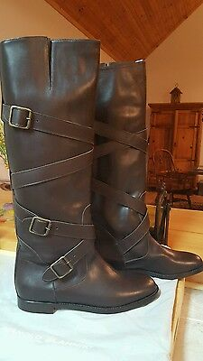 MANOLO BLAHNIK Cintuntahi TALL BOOTS CRISS-CROSS STRAPS DK BROWN NEW 41 10 SHOES