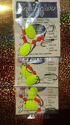 3 Crawler Worm Harness's Rare 3 Hook USA Made Walleye Perch Bass Crappie Lures