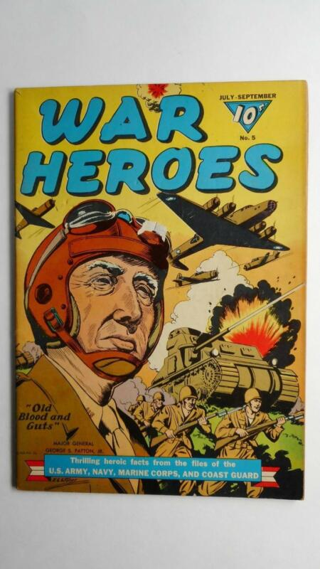 WAR HEROES #5  VG/F 5.0  (DELL 1942 SERIES) GEN PATTON WWII COVER