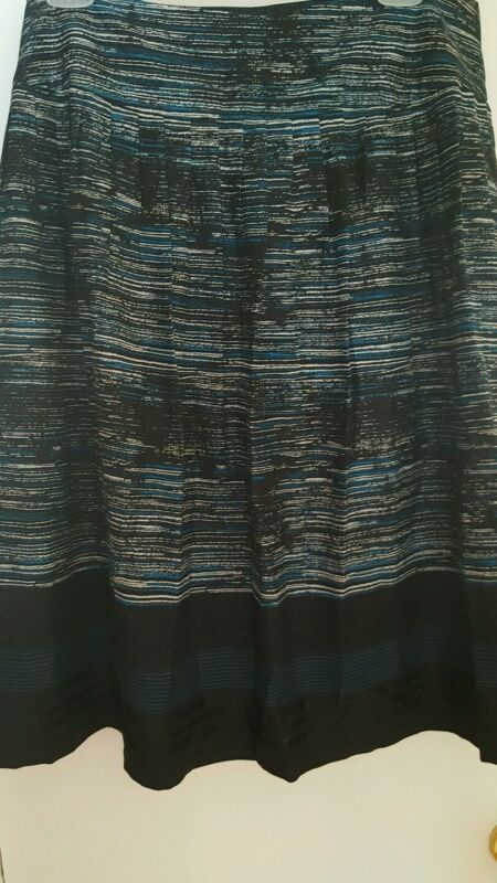 Alfani Skirt Blue Black White  & Embellished Party Office Silk Blends Size 12