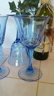 Set of 4 Vintage Avon Fostoria American Blue Classic Water Wine Goblets C5 American Classic Wine Set