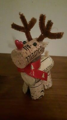 5 x handmade wine cork reindeer for  Christmas decorations (Reindeer Decorations For Christmas)