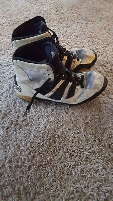 49b2eaf6de2 RARE Kendall Cross Pre-owned Adidas white old school wrestling shoes size  6.5