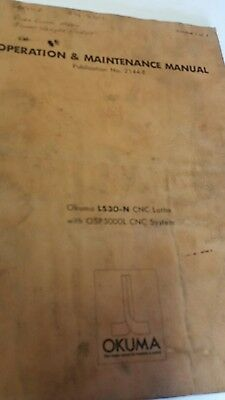Operation And Maintenance Manual Okuma Ls30-n Cnc Lathe With Osp5000l