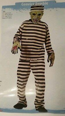 Kids Convict Zombie Boys Halloween Horror Fun World Childs Costume L 12-14 - Boys Convict Costume