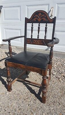 Used, Antique Mid Century Vintage Gothic Wood Captain's Dining Accent Side Arm Chair  for sale  Cameron