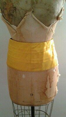 Vintage Thick Satin Uniform Waist Band Cummerbund Yellow Gold  Gold Satin Cummerbund
