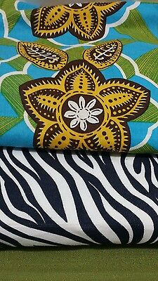 Cloth Lot Jungle Ethnic Zebra Green Art Craft Quilting Teacher Designer Fashion