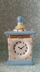 Blue & White Clock Hinged Trinket Box with Ribbon