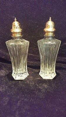 MIKASA DIAMOND FIRE SALT & PEPPER SHAKER SET WITH GOLD TOPS (NO BOX) Fire Salt Shaker