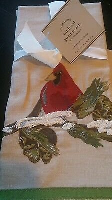 POTTERY BARN WINTER RED CARDINAL EMBROIDERED GUEST TOWELS set 2 Christmas New