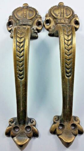 "2 Solid Brass Handles 6 3/4"" Pulls Door Cabinet Antique Barn Gate Crown Mot #P10"