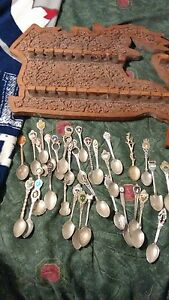 Antique Spoon Collection with Rack