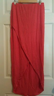 NEW MOSSIMO BODYCON JERSEY SPANDEX ENVELOPE ASYMMETRICAL LONG SKIRT SIZE S CORAL