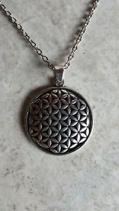Silver Flower of Life Pendant Necklace, Sacred Geometry USA001