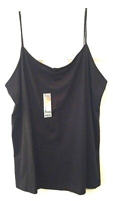 Womens Camisole Top Black Faded Glory Soft Stretch Comfort Cotton Spandex NWT - Comfort Cami