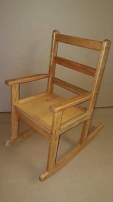 Child's Stained Light Honey Brown Maple Rocking Chair Wooden Rocker boy & girls